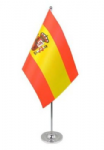 Spain Desk / Table Flag with chrome stand and base.